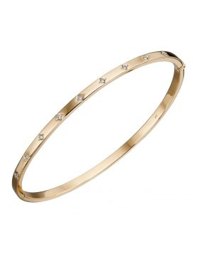 9CT GOLD & DIAMOND BANGLE