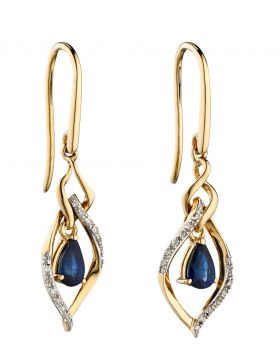 9CT GOLD, SAPPHIRE & DIAMOND EARRINGS