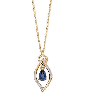 9CT GOLD, SAPPHIRE & DIAMOND NECKLACE