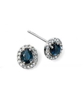 9CT WHITE GOLD, SAPPHIRE & DIAMOND EARRINGS