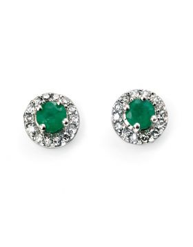 9CT WHITE GOLD, EMERALD & DIAMOND EARRINGS