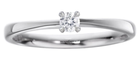 BROWN & NEWIRTH PALLADIUM SINGLE DIAMOND RING