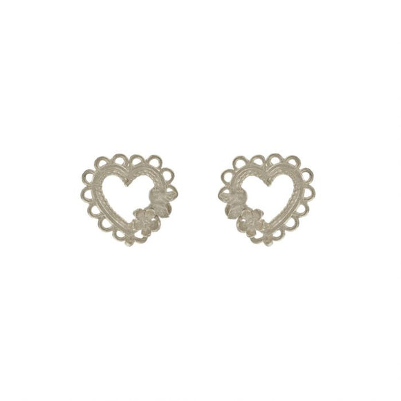 ALEX MONROE LACE EDGED HEART & FLOWER STUD EARRINGS