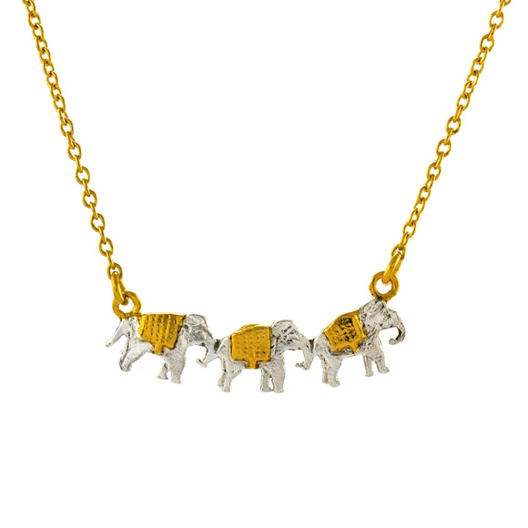 ALEX MONROE MARCHING ELEPHANTS NECKLACE