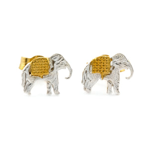 ALEX MONROE MARCHING ELEPHANT STUD EARRINGS