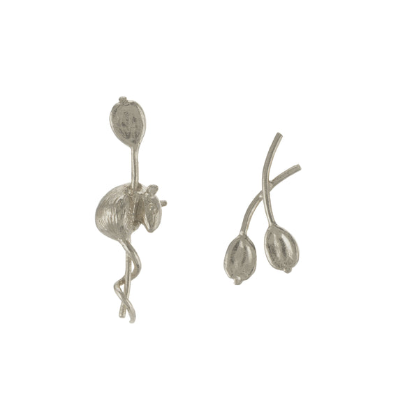 ALEX MONROE ASYMMETRIC HARVEST MOUSE & ANGELICA STUD EARRINGS