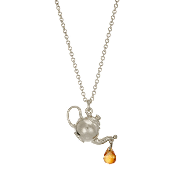 ALEX MONROE TEAPOT NECKLACE WITH CITRINE DROP