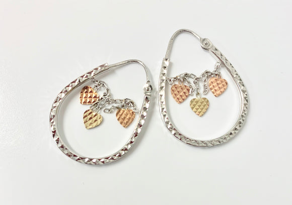 9CT WHITE GOLD CREOLE HEART EARRINGS