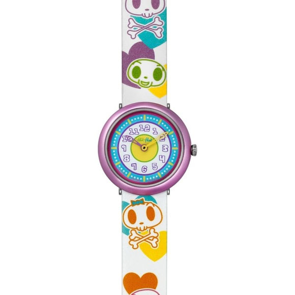 CHILDREN'S FLIK FLAK SKULLS & HEART WATCH