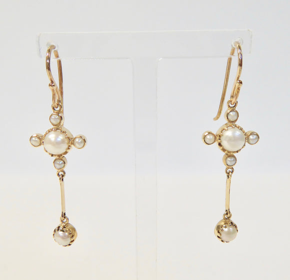 LUKE STOCKLEY 9CT FRESHWATER PEARL FLOWER CROSS DROP EARRINGS