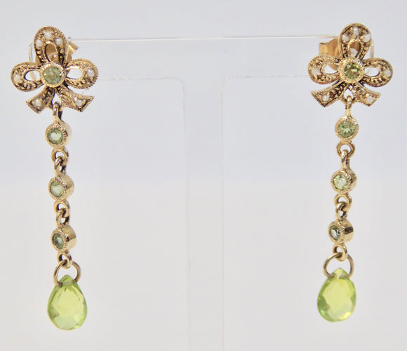 LUKE STOCKLEY 9CT PERIDOT & PEARL BOW DROP EARRINGS