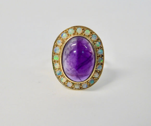 LUKE STOCKLEY 9CT AMETHYST & OPAL CABOCHON LARGE OVAL RING