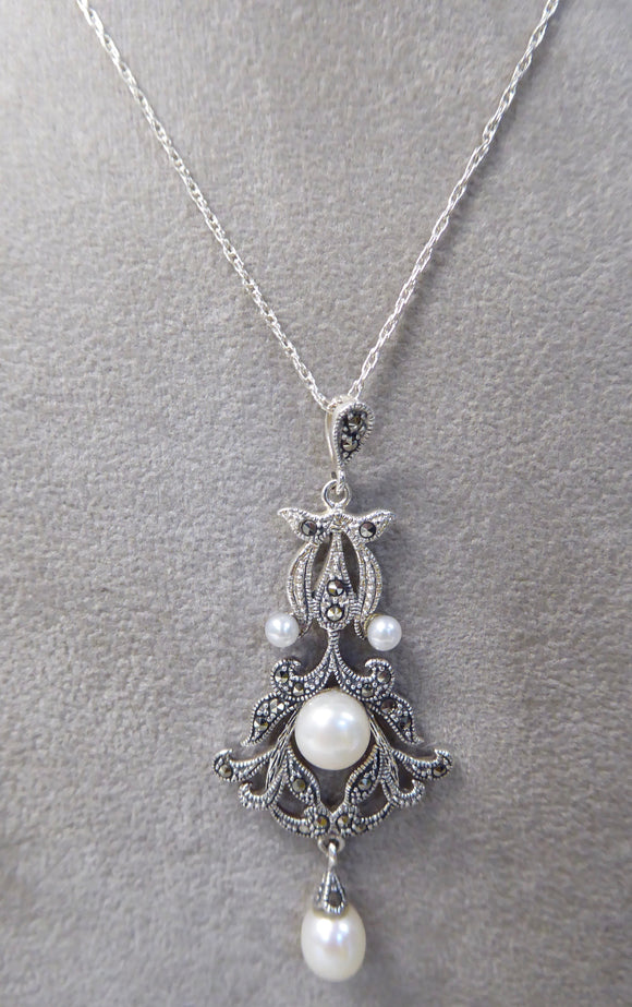 LUKE STOCKLEY SILVER MARCASITE & FRESHWATER PEARL NECKLACE