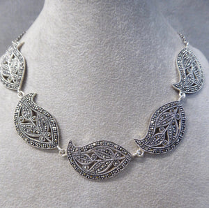 LUKE STOCKLEY SILVER MARCASITE LEAF NECKLACE
