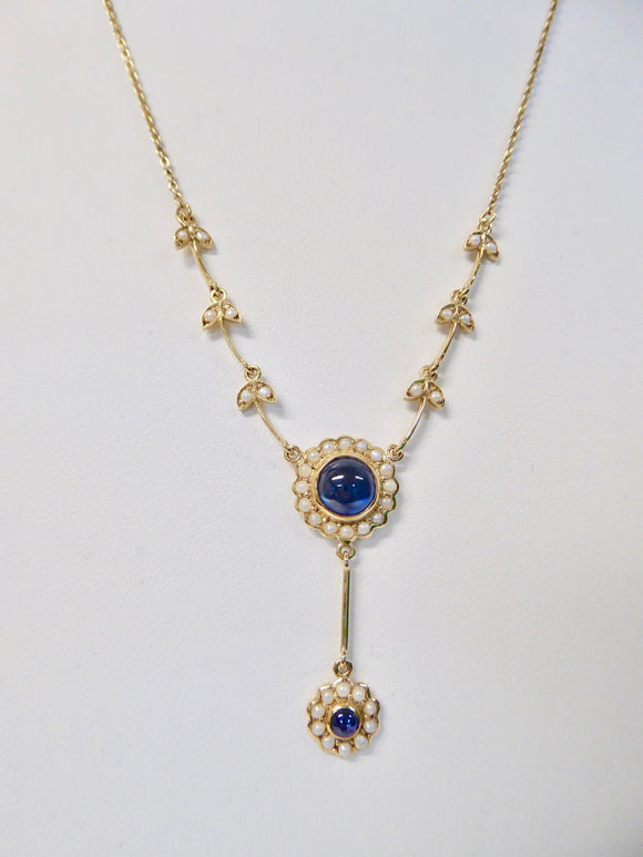 LUKE STOCKLEY 9CT SAPPHIRE & FRESHWATER PEARL CABOCHON NECKLACE