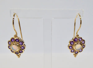 LUKE STOCKLEY 9CT AMETHYST & OPAL ROUND CLUSTER DROP EARRINGS