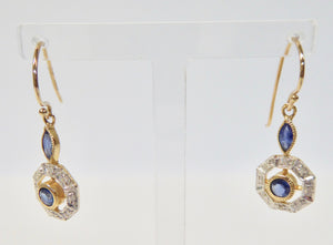 LUKE STOCKLEY 9CT SAPPHIRE & DIAMOND ROUND DROP EARRINGS