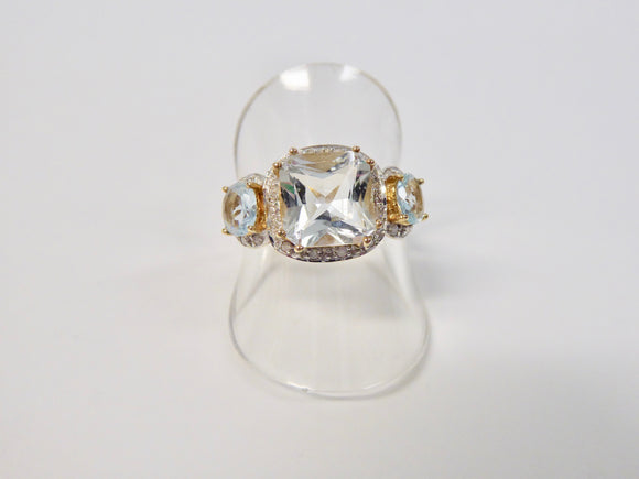 LUKE STOCKLEY AQUAMARINE & DIAMOND CLUSTER RING