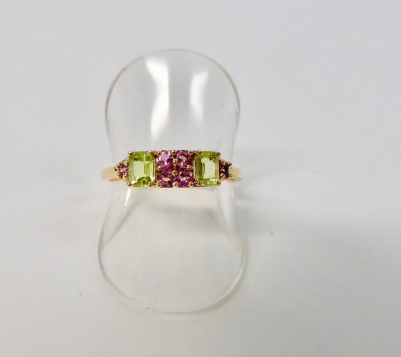 LUKE STOCKLEY 9CT PERIDOT & PINK TOURMALINE RING