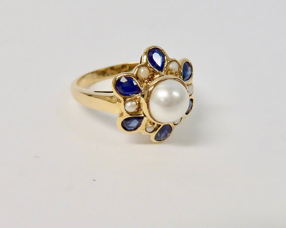 LUKE STOCKLEY 9CT GOLD SAPPHIRE & PEARL RING