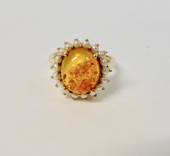 LUKE STOCKLEY 9CT GOLD AMBER & PEARL RING