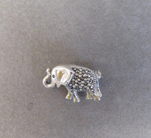 LUKE STOCKLEY SILVER MARCASITE ELEPHANT BROOCH