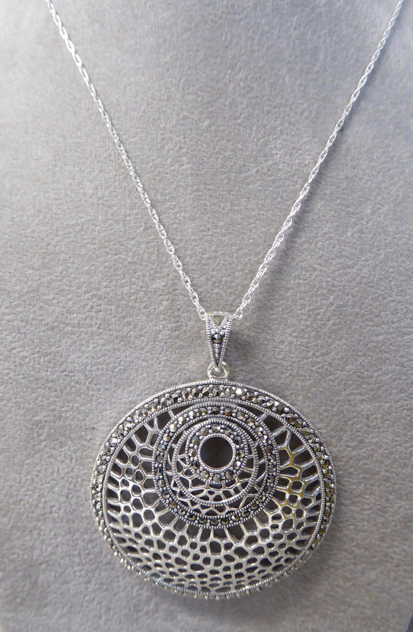 LUKE STOCKLEY SILVER MARCASITE ROUND NECKLACE