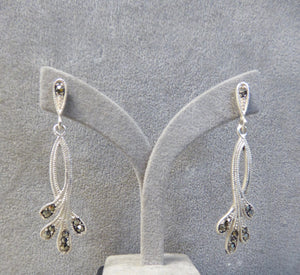 LUKE STOCKLEY SILVER MARCASITE DROP EARRINGS