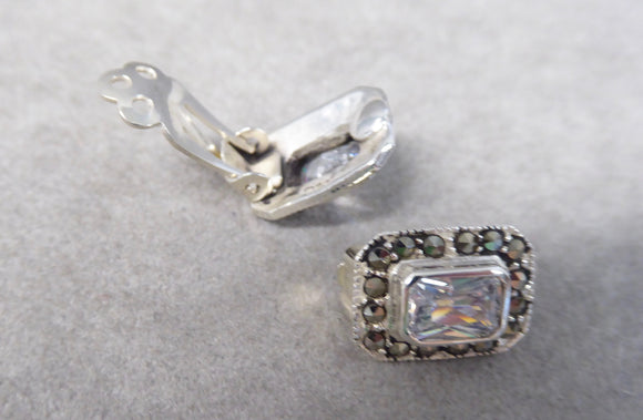 LUKE STOCKLEY SILVER MARCASITE & CUBIC ZIRCONIA CLIP EARRINGS
