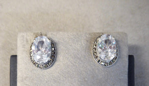 LUKE STOCKLEY SILVER MARCASITE & CUBIC ZIRCONIA EARRINGS