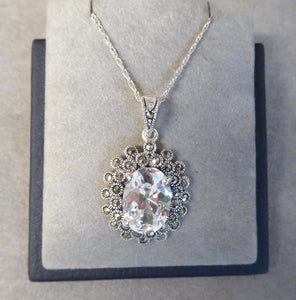 LUKE STOCKLEY SILVER MARCASITE & CUBIC ZIRCONIA NECKLACE