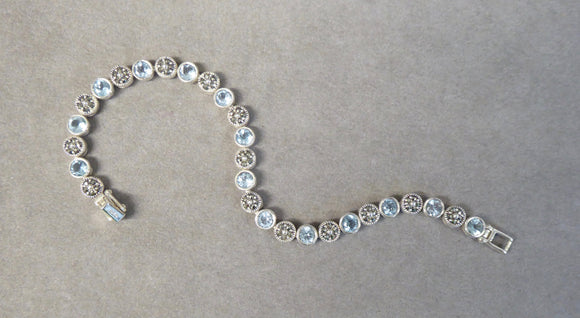 LUKE STOCKLEY SILVER MARCASITE & BLUE TOPAZ TENNIS BRACELET