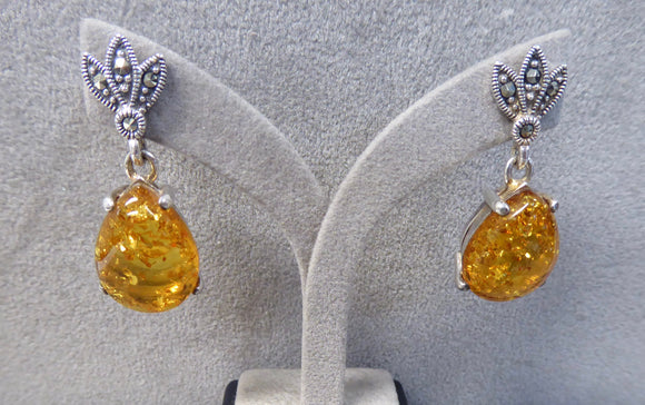LUKE STOCKLEY SILVER MARCASITE & AMBER DROP EARRINGS
