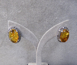 LUKE STOCKLEY SILVER MARCASITE & AMBER STUD EARRINGS