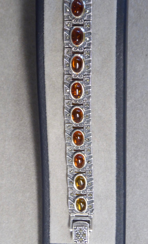 LUKE STOCKLEY SILVER MARCASITE & AMBER BRACELET