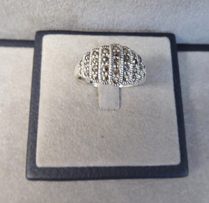 LUKE STOCKLEY SILVER MARCASITE 9 ROW GRADUATED RING