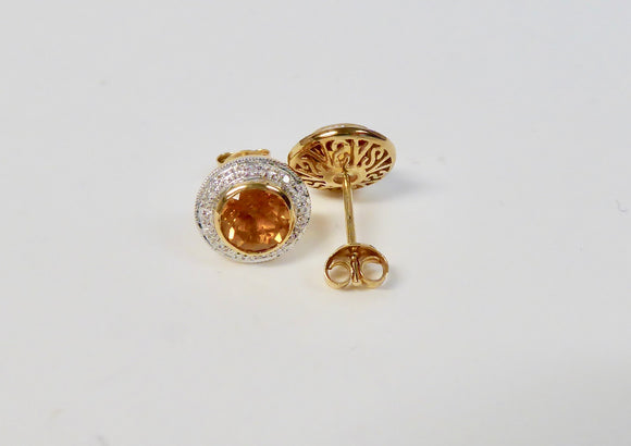 LUKE STOCKLEY 9CT CITRINE & DIAMOND ROUND CLUSTER STUD EARRINGS