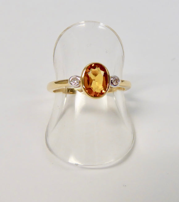 LUKE STOCKLEY 9CT CITRINE & DIAMOND OVAL RING
