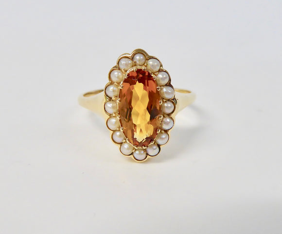 LUKE STOCKLEY 9CT CITRINE & FRESHWATER PEARL OVAL CLUSTER RING