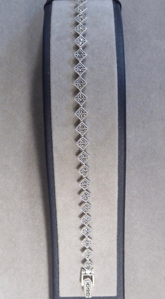LUKE STOCKLEY SILVER MARCASITE SMALL SQUARE LINK BRACELET