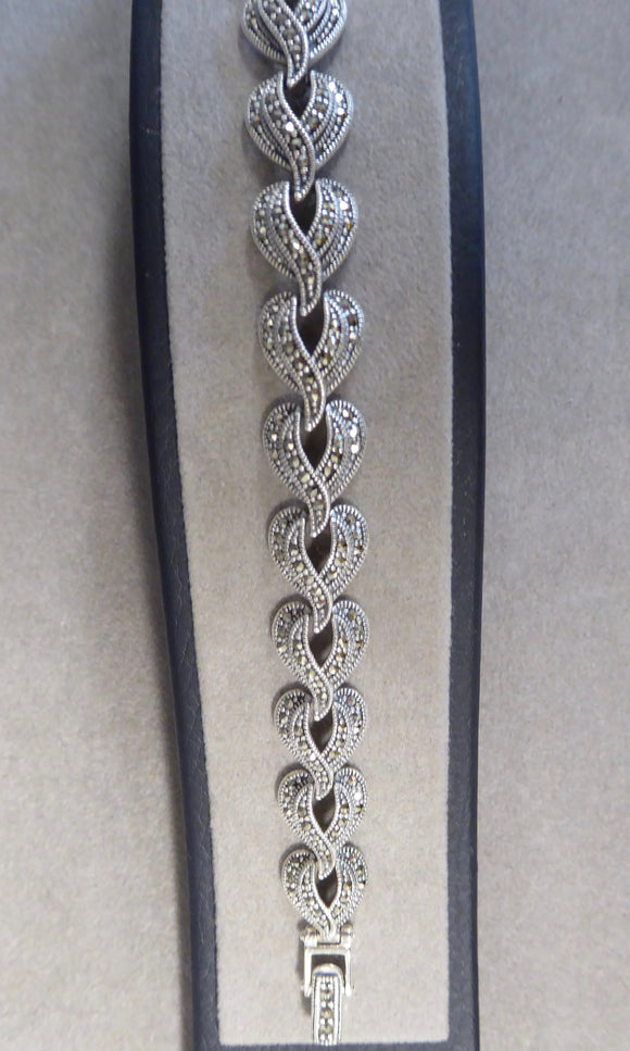 LUKE STOCKLEY SILVER MARCASITE OPEN HEART BRACELET