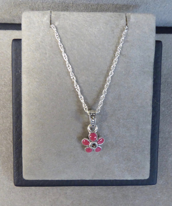 LUKE STOCKLEY SILVER MARCASITE & RED ENAMEL FLOWER NECKLACE