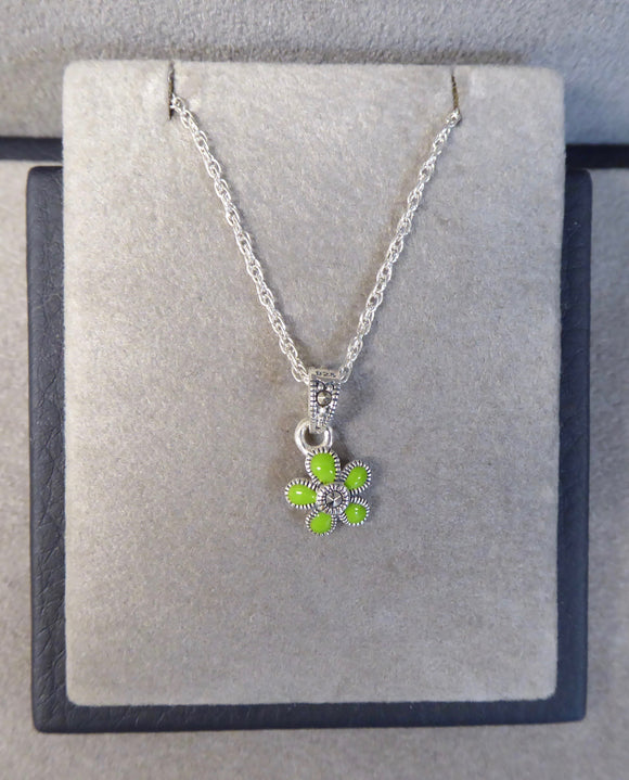 LUKE STOCKLEY SILVER MARCASITE & GREEN ENAMEL FLOWER NECKLACE