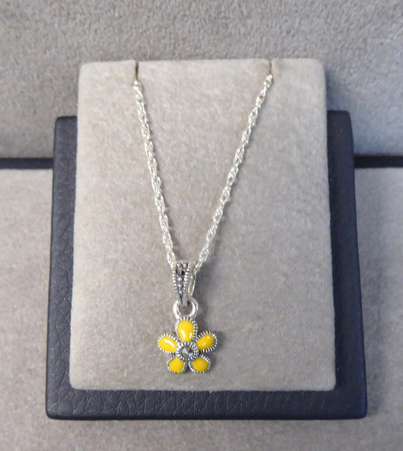 LUKE STOCKLEY SILVER MARCASITE & YELLOW ENAMEL FLOWER NECKLACE