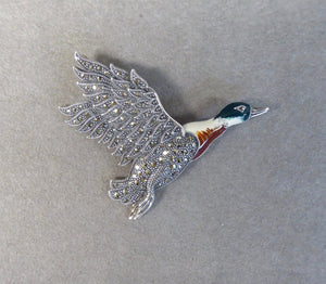 LUKE STOCKLEY SILVER MARCASITE & ENAMEL FLYING DUCK BROOCH