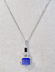 LUKE STOCKLEY SILVER MARCASITE, LAPIS & ONYX NECKLACE
