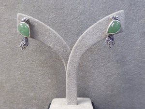 LUKE STOCKLEY SILVER MARCASITE & JADE BIRD STUD EARRINGS