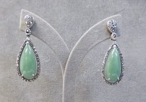 LUKE STOCKLEY SILVER MARCASITE & JADE LARGE TEAR DROP EARRINGS
