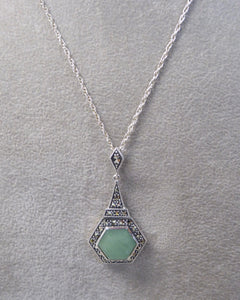 LUKE STOCKLEY SILVER MARCASITE & JADE HEXAGON NECKLACE