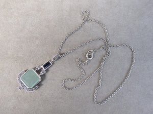 LUKE STOCKLEY SILVER MARCASITE, JADE & ONYX NECKLACE